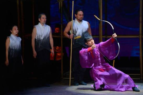 Cheng Bo (Daisuke Tsuji) and the Palace Guards in 'The Orphan of Zhao.' Photo by Kevin Berne.