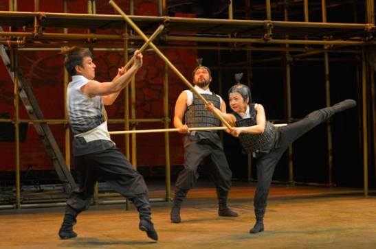 From left: Daisuke Tsuji, Orville Mendoza, and Julyana Soelistyo in American Conservatory Theater's production of The Orphan of Zhao at The Geary Theater. Photo by Kevin Berne.