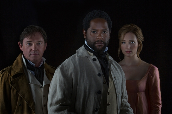 (from left) Richard Thomas stars as Iago, Blair Underwood as Othello, and Kristen Connolly as Desdemona in Shakespeare's Othello, directed by Old Globe Artistic Director Barry Edelstein, June 22 - July 27, 2014 at The Old Globe. Photo by Jim Cox.