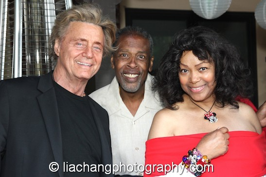 """Shadoe Stevens, Meshach Taylor and Beverly Cunningham at Taylor's 67th birthday party in Toluca Lake, CA on April 12, 2014. Stevens and Taylor appeared on """"Dave's World"""". Photo by Lia Chang"""