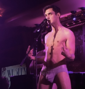 Wesley Taylor stripped down with The Skivvies at 54 Below in New York on June 4, 2014. Photo by Lia Chang