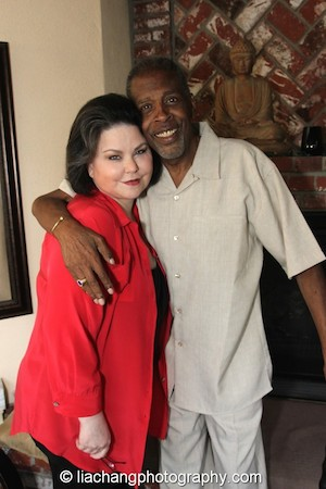 Delta Burke with her best friend and brother Meshach Taylor at Taylor's 67th birthday in Toluca Lake, CA, on April 12, 2014. Photo by Lia Chang