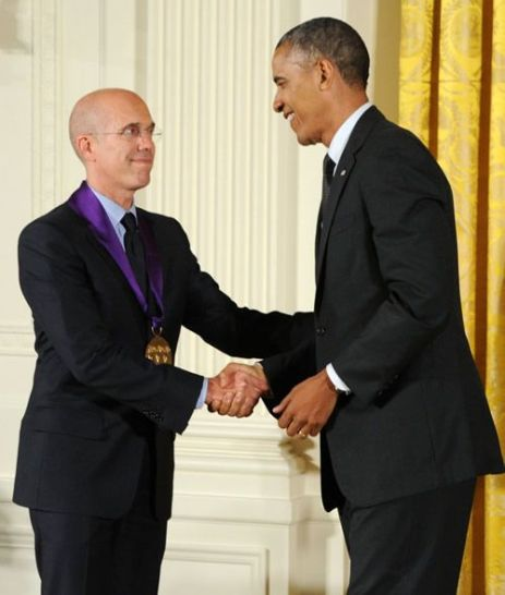 President Barack Obama presents the National Medal of Arts to the director and CEO of DreamWorks Jeffrey Katzenberg in a White House ceremony on July 28, 2014. Photo by Jocelyn Augustino.