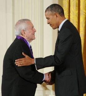 President Barack Obama presents the National Medal of Arts to musical theater composer John Kander in a White House ceremony on July 28, 2014. Photo by Jocelyn Augustino.