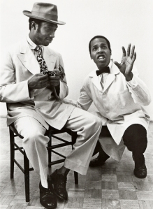 Lionel Smith and Meshach Taylor in the Goodman Theatre's production of Sizwe Banzi is Dead. Photo courtesy of the Goodman Theatre Archives