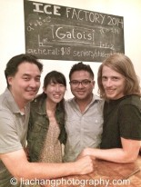 Sung Rno, Jane Jung, Victor Maog and Aaron Jones after a performance of Galois at the New Ohio Theatre's Ice Factory Festival 2014 in New York on July 25, 2014. Photo by Lia Chang