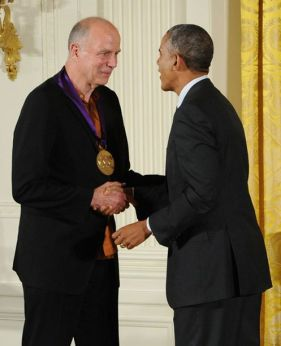 President Barack Obama presents the National Medal of Arts to architect Tod Williams in a White House ceremony on July 28, 2014. Photo by Jocelyn Augustino.