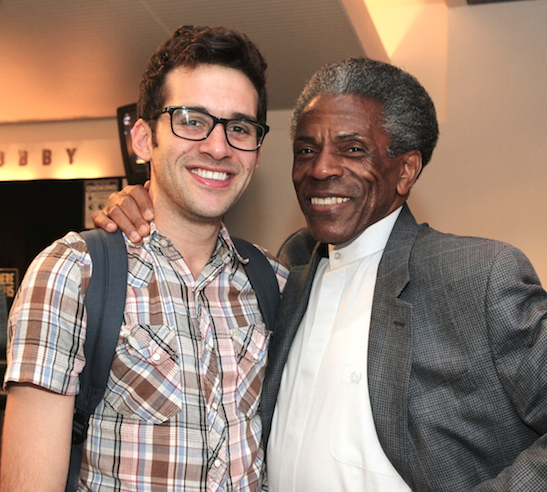 André De Shields with his Fortress of Solitude cast mate Adam Chanler-Berat after a production of Fly By Night at Playwright's Horizon in New York on June 28, 2014. Photo by Lia Chang