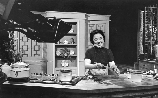 Mandarin-style restaurant in 1958. Her growing reputation and subsequent cookbook landed her a nationally televised cooking show—the first TV series with an Asian host—and her own Chinese cookware line. CREDIT LINE: Private Collection. Courtesy of WGBH Educational Foundation.