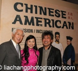 Oscar Tang and his wife Agnes-Hsu Tang with David Henry Hwang at the opening reception of Chinese American: Exclusion/Inclusion at the New-York Historical Society in New York on September 23, 2014. Photo by Lia Chang