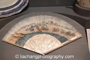 Empress of China fan DATE ca. 1784. This fan depicts the Empress of China—the first American merchant vessel to trade with China. The ship departed from New York harbor in 1784 and returned the following year, laden with porcelains, silks, and teas. CREDIT LINE Courtesy of the Philadelphia History Museum at the Atwater Kent, The Historical Society of Pennsylvania Collection. Photo by Lia Chang