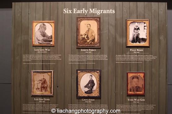 Six early Chinese migrants: Lum Ling Wah, Joseph Pierce, Polly Bemis, Lue Gim Gong, Choy Awah and Yung Wah Gok. Photo by Lia Chang