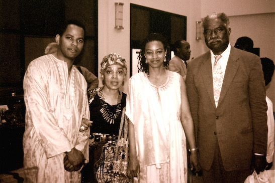 Guy Davis, Ruby Dee, Dowoti Desir and Ossie Davis at the opening night party of New Federal Theatre's production of Bill Harris' Robert Johnson: Trick The Devil at the Schomburg in New York in June 1993. Photo by Lia Chang