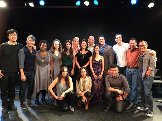 The cast and creative team of Barcelona. Photo by Lia Chang