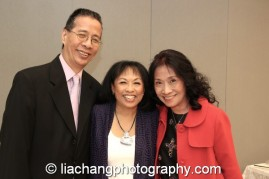 2014 Paul Robeson Citation Award recipient Baayork Lee with her cousin Chester Lee and his wife Rosanna at the Actors Equity Association in New York on October 10, 2014. Photo by Lia Chang