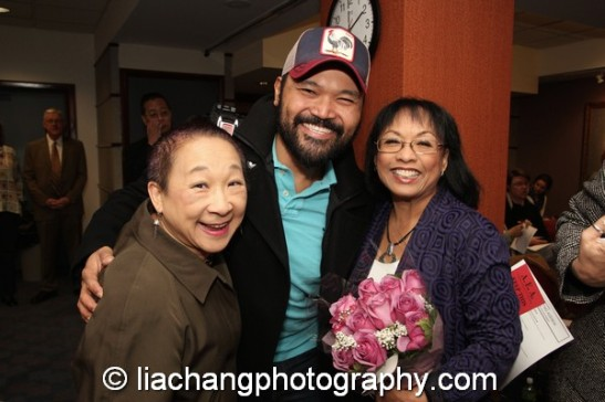 Lori Tan Chinn, Orville Mendoza and 2014 Paul Robeson Citation Award recipient Baayork Lee at the Actors Equity Association in New York on October 10, 2014. Photo by Lia Chang