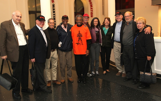 L to R: Dan Borinsky, John Borden, Ed Friedel, Mike Moore, André De Shields, Dick Cluster, Kimberly Grigsby (Musical Director for The Fortress of Solitude), Edie Mackie, Tom Risser, Jack Anderson, Sue Anderson. Photo by Lia Chang