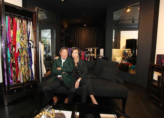 Ken Natori and his wife Fashion Designer Josie Natori at the Josie Natori Boutique in Nolita on June 16, 2014. Photo by Lia Chang