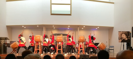 Soh Daiko perform at Yuri Kochiyama Memorial at First Corinthian Church in New York on September 27, 2014. Photo by Lia Chang