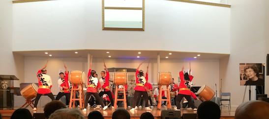 Soh Daiko perform at Yuri Kochiyama Memorial at First Corinthian Church in New York on September 27, 2014. Photo by Lia Chang
