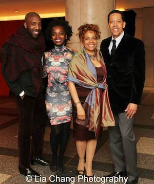 Jeremiah Abiah, MaameYaa Boafo, Denise Burse, Peter Jay Fernandez at the opening night party at The Restaurants at Rockefeller Center in New York of Broadway's All The Way on March 6, 2014. Photo by Lia Chang