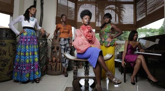 "Esosa E, Maame Adjei, Maameyaa Boafo, Nana Mensah and Marie Humbert in ""An African City""."