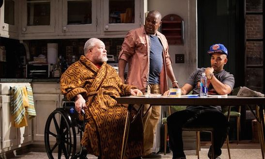 "Stephen McKinley Henderson, Ray Anthony Thomas, and Victor Almanzar in ""Between Riverside and Crazy,"" written by Stephen Adly Guirgis, directed by Austin Pendleton, at the Atlantic Theater Company. ((c) Kevin Thomas Garcia/Atlantic Theater Company)"