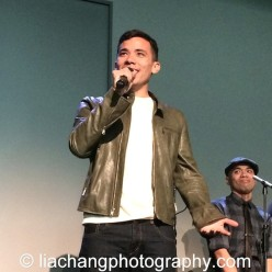 "Conrad Ricamora sings ""A Child of the Philippines"" at the Here Lies Love Apple Store Soho Event in New York on October 25, 2014. Photo by Lia Chang"