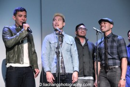 "Conrad Ricamora, Tobias Wong, Enrico Rodriguez and Rob Laqui sing ""A Perfect Hand"" at the Here Lies Love Apple Store Soho Event in New York on October 25, 2014. Photo by Lia Chang"