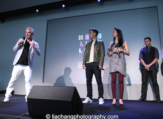 David Byrne, Conrad Ricamora, Jaygee Macapugay and Jose Llana at the Here Lies Love Apple Soho Store in New York on October 25, 2014. Photo by Lia Chang
