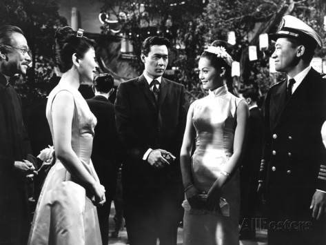 Kam Tong, Miyoshi Umeki, James Shigeta, Nancy Kwan, Victor Sen Yung on the set of Flower Drum Song in 1961.