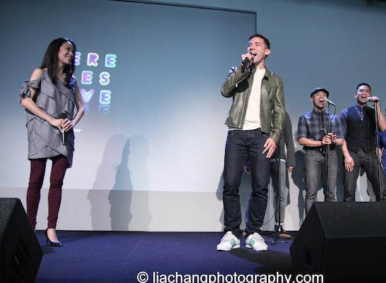 "Jaygee Macapugay and Conrad Ricamora sing ""A Child of the Philippines"" at the Here Lies Love Apple Store Soho Event in New York on October 25, 2014. Photo by Lia Chang"
