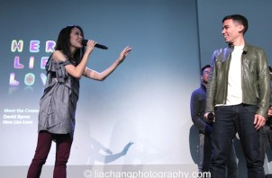 "Jaygee Macapugay and Conrad Ricamora sing ""A Child of the Philippines"" with Erico Rodriguez, Rob Laqui and Jose Llana at the Here Lies Love Apple Store Soho Event in New York on October 25, 2014. Photo by Lia Chang"