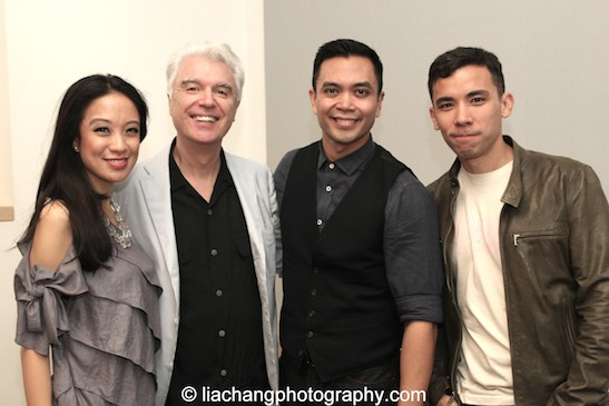 Jaygee Macapugay, David Byrne, Jose Llana and Conrad Ricamora of Here Lies Love at the Apple Store Soho in New York on October 25, 2014. Photo by Lia Chang