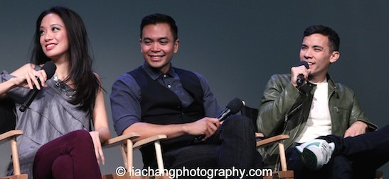 Here Lies Love stars Jaygee Macapugay, Jose Llana and Conrad Ricamora at the Here Lies Love Apple Store Soho Event in New York on October 25, 2014. Photo by Lia Chang