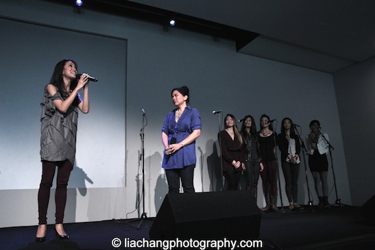 "lody Butiu sing ""Here Lies Love"" with Carol Angeli, Debralee Daco, Diane Phelan, Janelle Velasquez, Renée Abulario at the Here Lies Love Apple Store Soho Event in New York on October 25, 2014. Photo by Lia Chang"