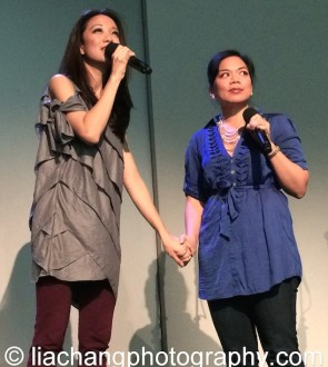 """Jaygee Macapugay and Melody Butiu sing """"Here Lies Love at the Here Lies Love Apple Store Soho Event in New York on October 25, 2014. Photo by Lia Chang"""