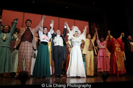 Karl Josef Co, Jaygee Macapugay, Raul Aranas, Christine Toy Johnson and the company of NAAP's Hello Dolly! at The Pershing Square Signature Center on April 30, 2013. Photo by Lia Chang