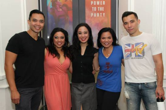 Jaygee Macapugay is flanked by her cast members Jose Llana, Maria-Christina Oliveras, Melody Butiu and Conrad Ricamora after a performance of Here Lies Love at The Public in New York on August 22, 2014. Photo by Lia Chang