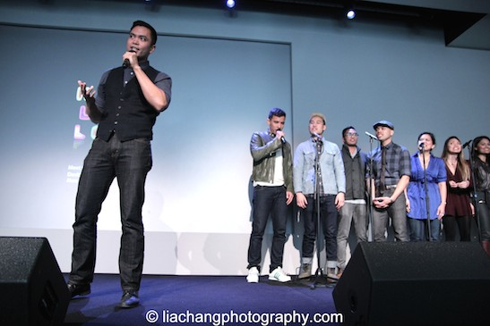"Jose Llana sings ""A Perfect Hand"" with Conrad Ricamora, Tobias Wong, Enrico Rodriguez, Rob Laqui and Melody Butiu at the Here Lies Love Apple Store Soho Event in New York on October 25, 2014. Photo by Lia Chang"