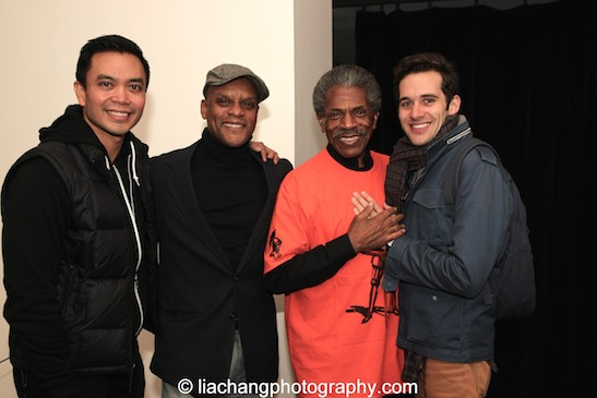 Here Lies Love star Jose Llana was in the front row for Kevin Mambo, André De Shields and Adam Chanler-Berat. Photo by Lia Chang
