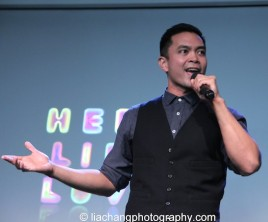 "Jose Llana sings ""A Perfect Hand"" at the Here Lies Love Apple Store Soho Event in New York on October 25, 2014. Photo by Lia Chang"