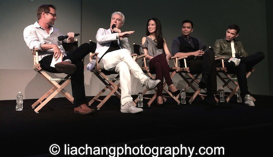 New York Post writer Michael Riedel with Here Lies Love creator David Byrne, his stars Jaygee Macapugay, Jose Llana and Conrad Ricamora at the Here Lies Love Apple Store Soho Event in New York on October 25, 2014. Photo by Lia Chang