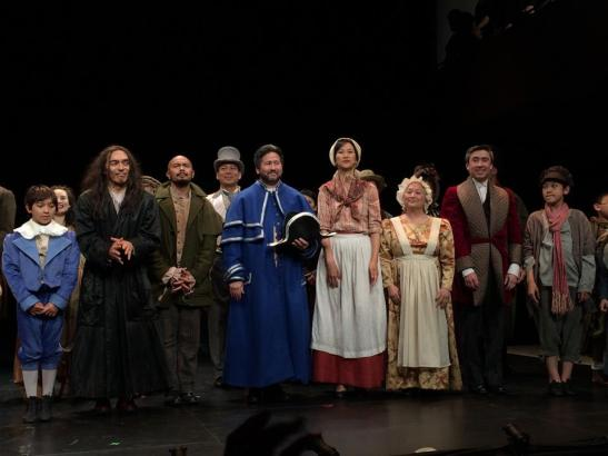 Bonale Zohn Fambrini, Raul Aranas, Mel Sagrado Maghuyop, Scott Watanabe, Cindy Cheung, Virginia Wing and John Haggerty at the curtain call of NAAP's Oliver! at The Romulus Linney Courtyard Theatre inside The Pershing Square Signature Center in New York on June 7, 2014. Photo by Lia Chang