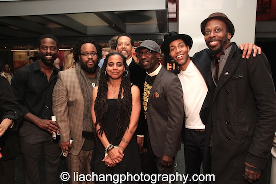Sterling K. Brown, Jacob Ming-Trent, Suzan-Lori Parks, Peter Jay Fernandez, Russell G. Jones, Jeremie Harris and Julian Rozzell Jr. Photo by Lia Chang