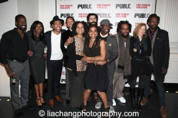 Father Comes Home From The Wars Opening Night Celebration on October 28, 2014 at The Public Theater- Cast members Sterling K Brown, Jenny Jules, Jeremie Harris, Peter Jay Fernandez, Tonye Patano, playwright Suzan-Lori Parks, Louis Cancelmi, Russell G. Jones, Jacob Ming Trent, director Jo Bonney and Julian Rozzell Jr. Photo by Lia Chang