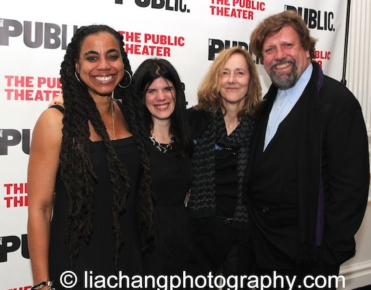 Playwright Suzan-Lori Parks (left) with Public Theater Associate Artistic Director Mandy Hackett, Father Comes Home From the Wars director Jo Bonney, and Artistic Director Oskar Eustis. Photo by Lia Chang