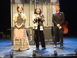 Nina Zoie Lam, Baayork Lee and Steven Eng, the founders of NAAP onstage before the performance of Oliver!, at The Romulus Linney Courtyard Theatre 