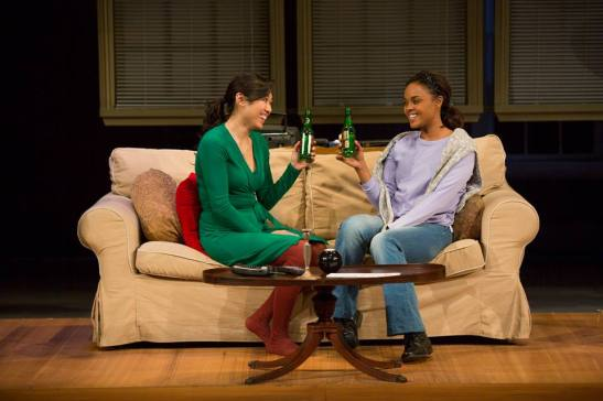 (l-r) Angela Lin and Sharon Leal in Diana Son's Stop Kiss. Photo by Jim Cox.