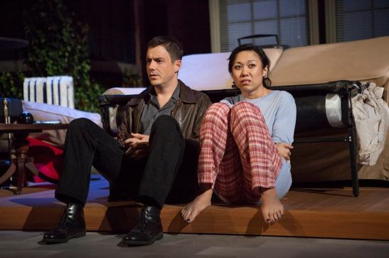 (l-r) John Sloan and Angela Lin in Diana Son's Stop Kiss. Photo by Jim Cox.